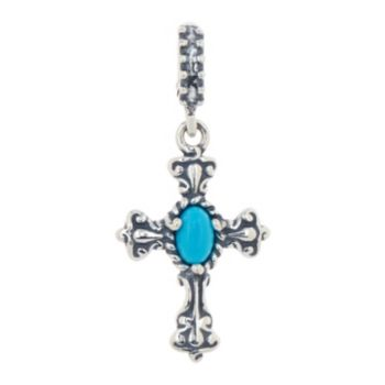 Carolyn Pollack Sterling Silver Gemstone Signature Cross Charm