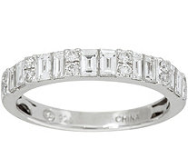 Baguette & White Diamond Band Ring, 18K 1.00 cttw, by Affinity - J347663