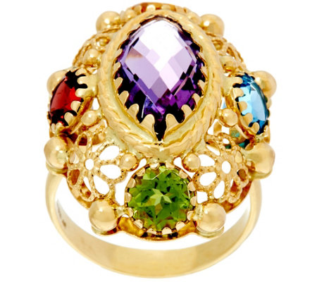 """As Is"" Arte d' Oro 6.00 cttw Multi-gemstone Oval Ring 18K Gold"
