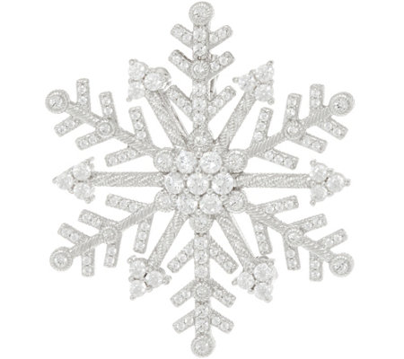 Judith Ripka Sterling Silver Diamonique Snowflake Pin / Enhancer