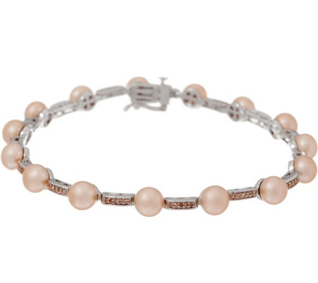 "Honora Cultured Pearl and Diamond 8"" Bracelet, Sterling"