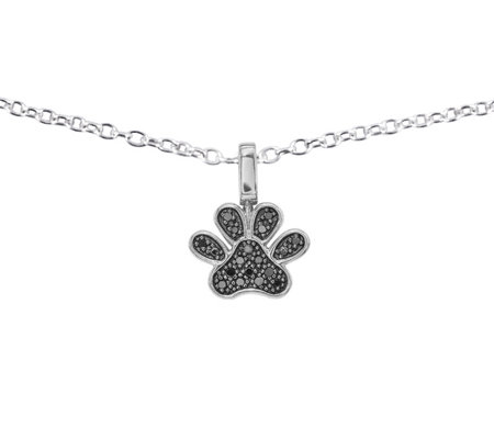 Diamond Paw Pendant, Sterling, 1/7 ctt w, by Affinity