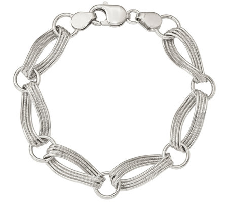 "Sterling Twisted Link 8-1/2"" Bracelet, 17.8g by Silver Style"