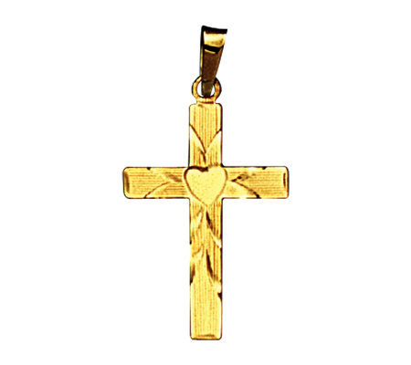 14K Heart Engraved Cross Pendant