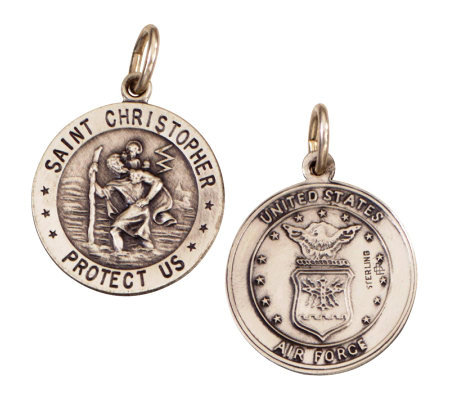 Sterling Saint Christopher /Air Force Medal charm