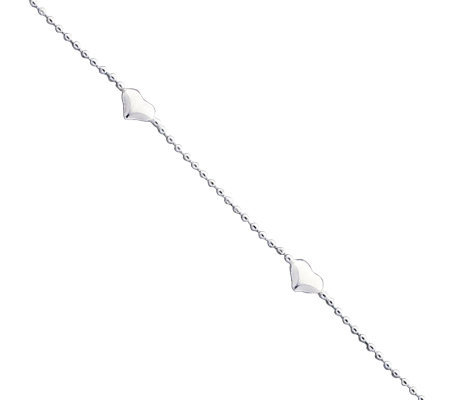 "Sterling 10"" Polished Puffed Heart Anklet"