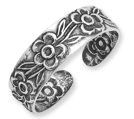 Sterling Antiqued Floral Toe Ring