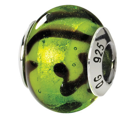 Prerogatives Sterling Green & Black Italian Murano Glass Bead