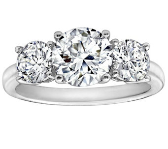 Diamonique 3.50 cttw 3 Stone  Ring, Platinum Clad - J111664