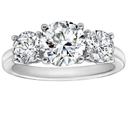diamonique 350 cttw 3 stone ring platinum clad - Diamonique Wedding Rings