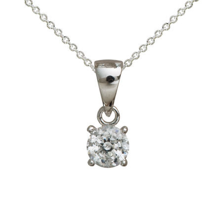 Diamonique 100-Facet 1/2 cttw Pendant w/ Chain, Platinum Clad