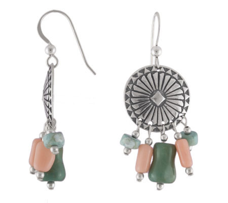 Southwestern Sterling Concho Earrings with Coral and Turquois