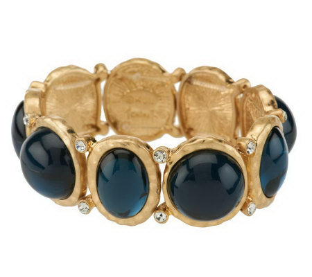 Kenneth Jay Lane's Hammered Cabochon Bracelet