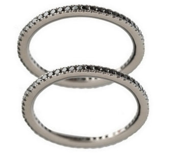 """As Is"" Hidalgo Diamonique Sterling Set of 2 Micropave' Eternity Rings - J276564"