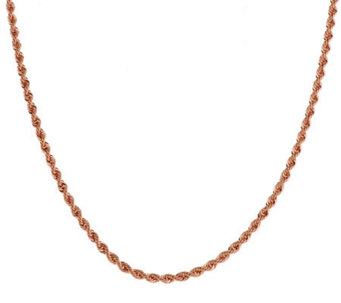 "Bronze 36"" Polished Rope Chain Necklace by Bronzo Italia - J277164"