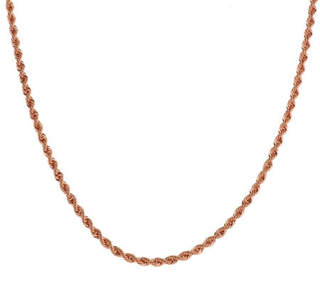 "Bronze 36"" Polished Rope Chain Necklace by Bronzo Italia"
