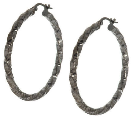 "Vicenza Silver Sterling 1-1/2"" Diamond Cut Twisted Round Hoop Earrings"