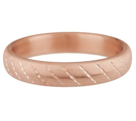 Oro Nuovo Average Satin Diamond Cut Round Bangle 14K