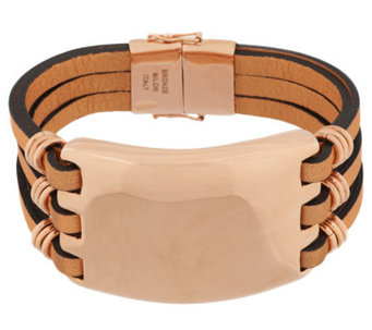 Bronze Bold Multi-Strand Leather Bracelet by Bronzo Italia - J287264