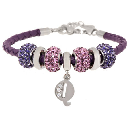 Stainless Steel Purple Leather Bracelet with Initial and Crystal Station