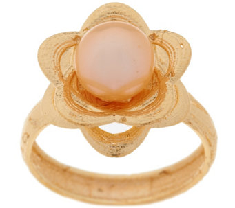 EternaGold 7.0mm Cultured Pearl Textured Flower Ring, 14K Gold - J294364