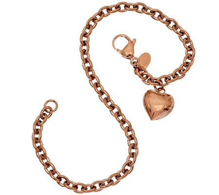 Stainless Steel Oval Rolo Link Heart Charm Ankle Bracelet