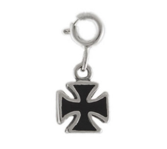 Sterling Maltese Cross Charm with Black Enamel - J297564