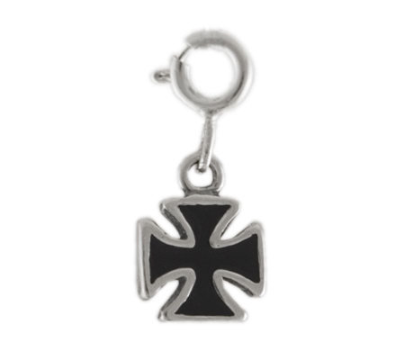 Sterling Maltese Cross Charm with Black Enamel