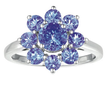 Sterling 2.25 cttw Tanzanite Flower Ring - J308564