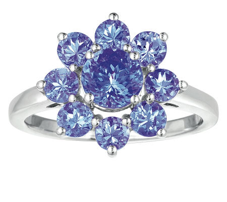 Sterling 2.25 cttw Tanzanite Flower Ring