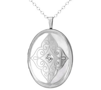 Diamond Fascination Sterling Oval Locket with Chain - J309964