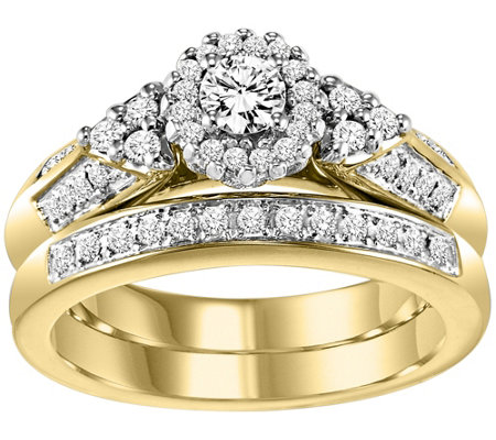 Affinity Diamond 1/2 ct tw Round Cluster 2-Piece Ring Set, 14