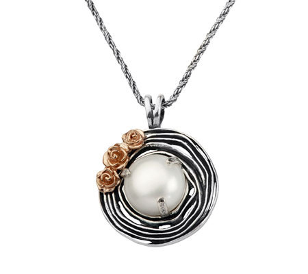 Or Paz Sterling Cultured Pearl Round Textured Pendant w/ Chai