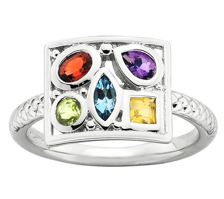 Simply Stacks Sterling Multi-Shape Gemstone Ring