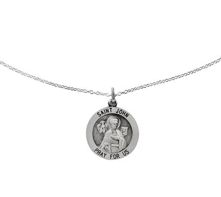 "Sterling Saint John Round Solid Pendant w/ 18""Chain"