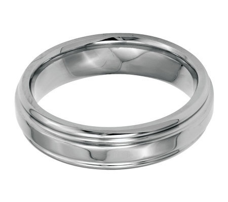 Stainless Steel 6mm Ridged Edge Polished Ring