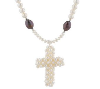 Lee Sands Cultured Freshwater Pearl Cross Necklace - J315064