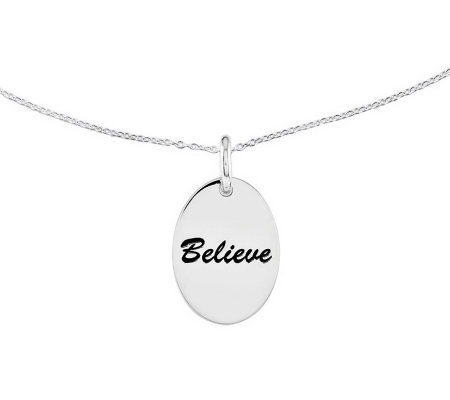 "Sterling Polished Oval Encouragement Pendant w/ 18"" Chain"