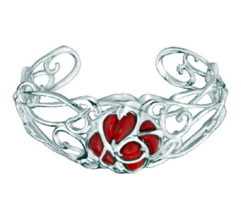 Carolyn Pollack Sterling Red Coral Rose Cuff - J315764