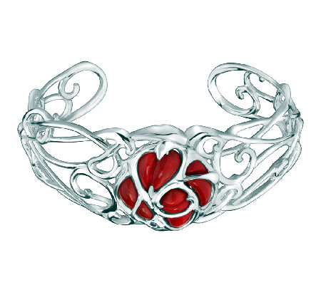 Carolyn Pollack Sterling Red Coral Rose Cuff
