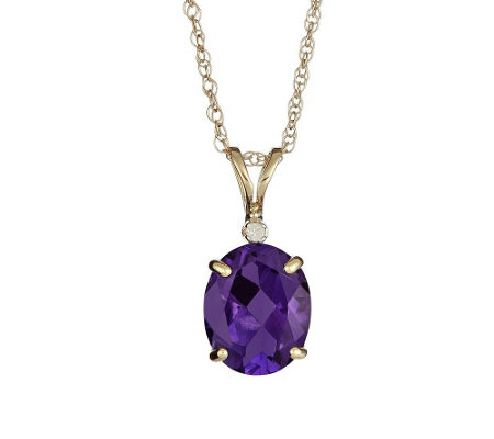 "Gemstone Pendant with Diamond Accent and 18"" Chain, 14K"