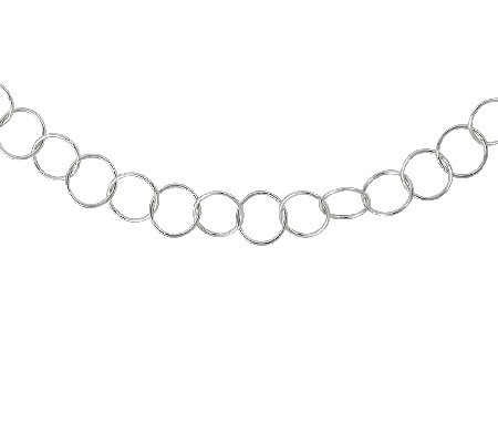 "Sterling 24"" Polished Circle Link Necklace"