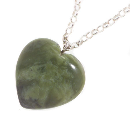 "Connemara Marble Puffed Heart Pendant with18"" Chain"