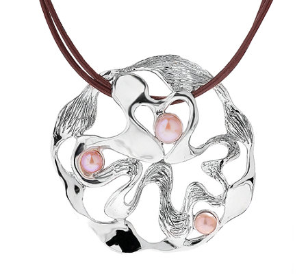 Hagit Sterling Cultured Pearl Swirled Pendant w / Leather Cord