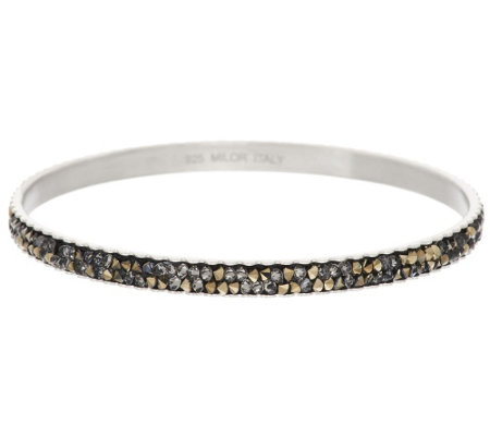 Vicenza Silver Sterling Crystal Slip-on Bangle Bracelet