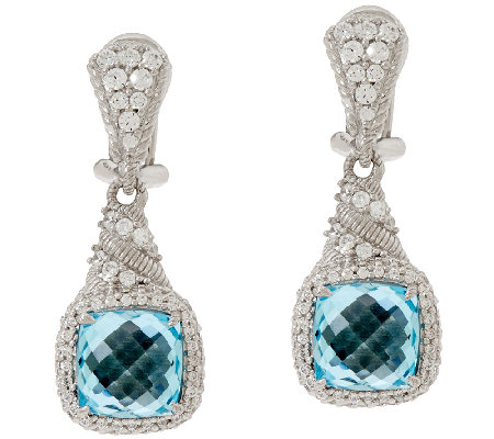 Judith Ripka Sterling 6.65ct Blue Topaz & Diamonique Earrings