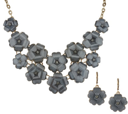 Joan Rivers Shimmering Floral Necklace & Earrings Set