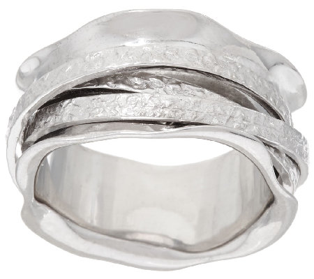 Italian Silver Sterling Polished and Textured Spinner Ring