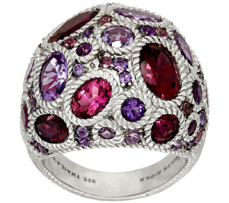 Judith Ripka Sterling 7.50 cttw Gemstone Cluster Ring