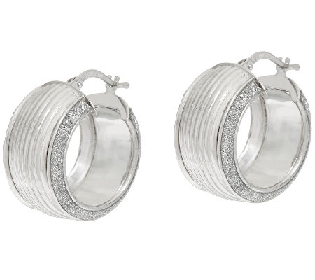 "Vicenza Silver Sterling 3/4"" Ribbed Pave' Glitter Round Hoop Earrings"